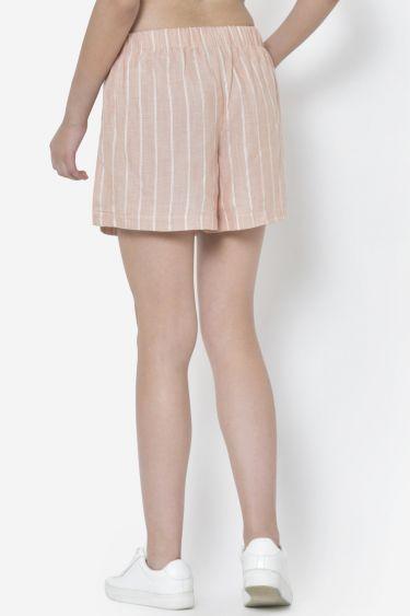 Pink Eyelet Stripe Rayon Shorts