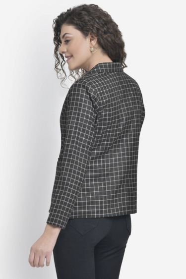 Black Check Button Blazer