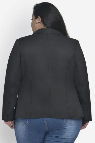 Solid Black Button Blazer