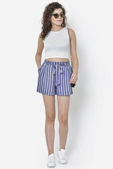 Bright Blue White Stripe Shorts