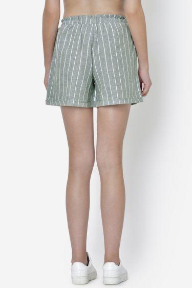 Olive Green Stripe Front Drawstring Short