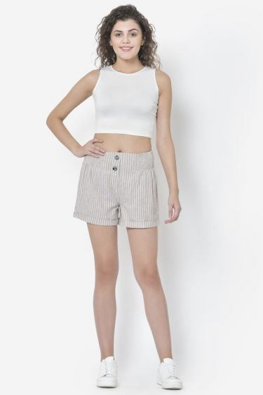 Light Brown Stripe Button Shorts