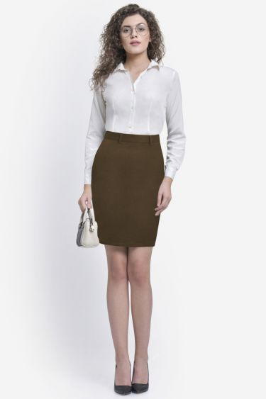 Solid Biscuit Brown Formal Skirt
