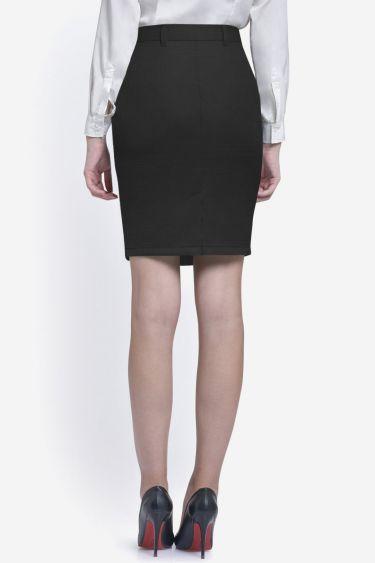 Black Textured Formal Skirt