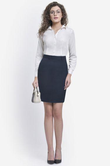 Dark Blue Textured Formal Skirt