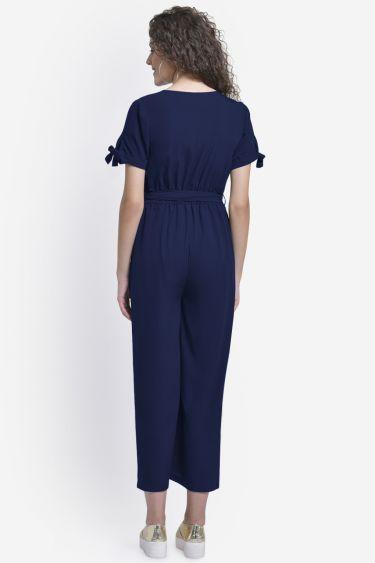 Blue Front Buttoned Jumpsuit