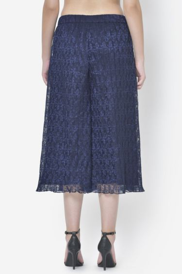 Navy Blue Pleated Flared Culottes Pant