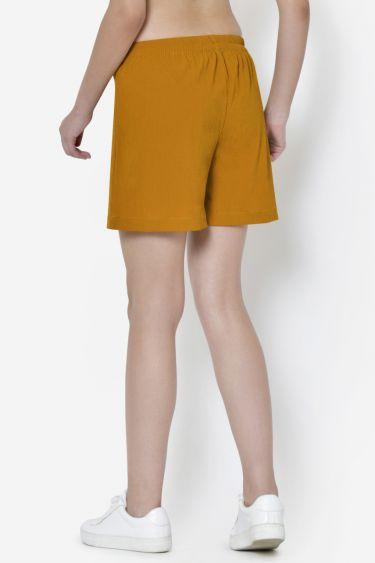 Mustard Eyelet Knotting Shorts