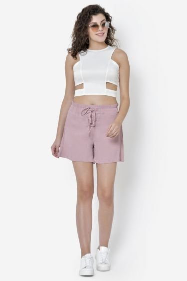 Pink Criss-Cross Lace Up Shorts