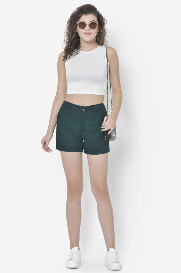 Dark Green Patch Pocket Shorts