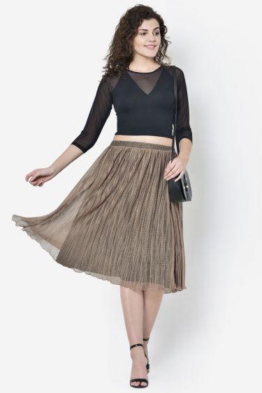 Beige Pleated Skirt
