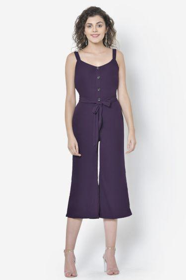 Purple Front Buttoned Jumpsuit