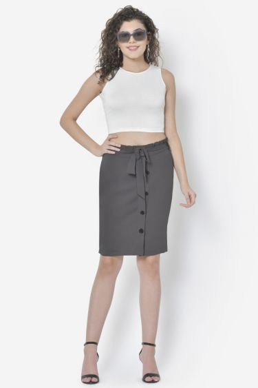 Grey Front Buttoned Skirt