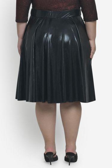 Black Full Circular Pu Skirt