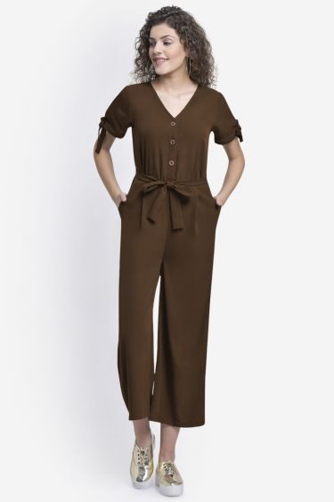 Brown Buttoned Jumpsuit