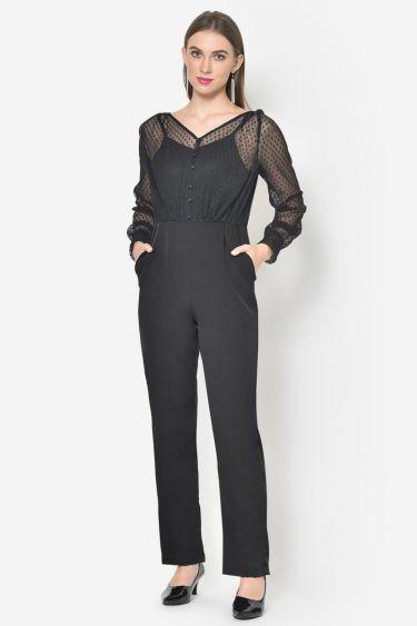 Black Dobby Net Jumpsuit
