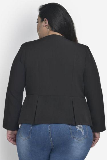 Black Front Open Pleated Blazer