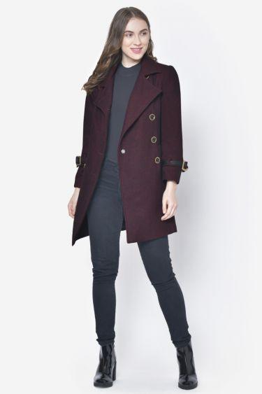 Maroon Sleeve Belt Woolen Coat