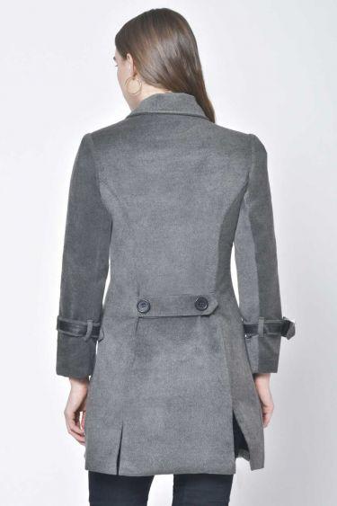 Grey Sleeve Belt Woolen Coat