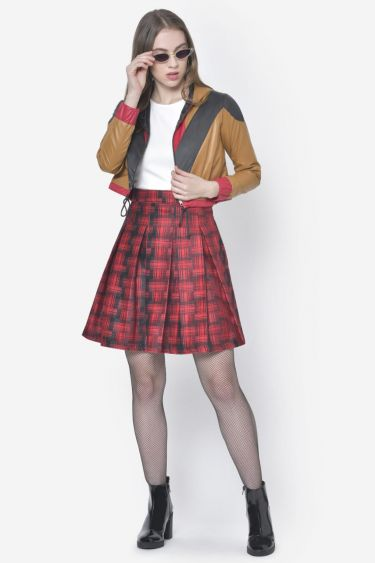 Bright Red Pleated Woolen Skirt