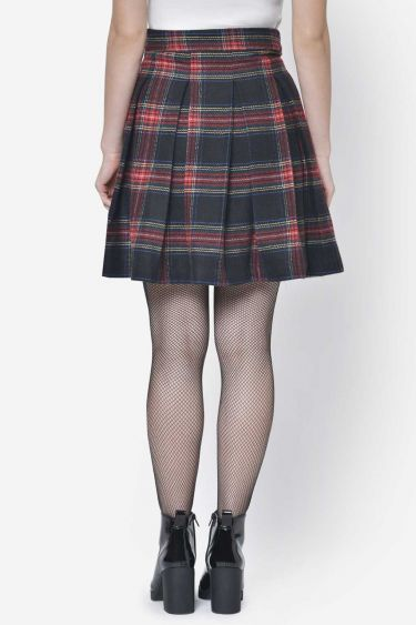 Red Pleated Checkered Woolen Skirt