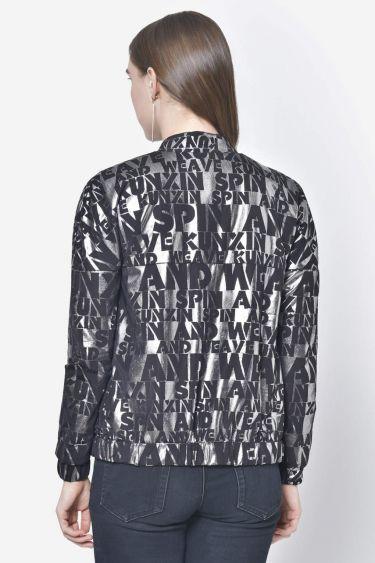 Black Silver Foil Print Light Jacket