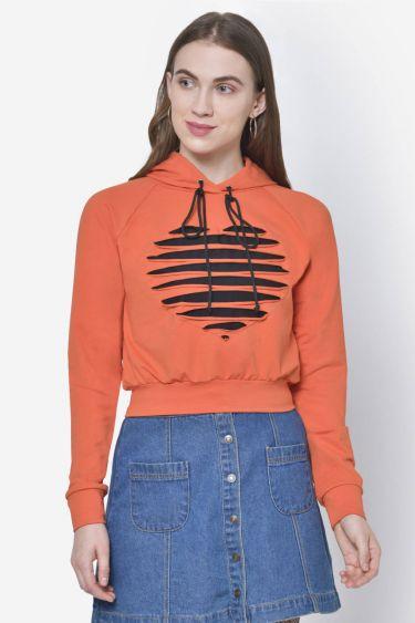 Orange Cutout Sweatshirt