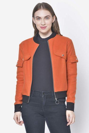 Rust Short Woolen Jacket