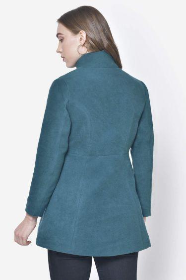 Turquoise Green A Line Woolen Coat