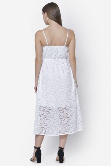 White Leaf Lace Midi Dress