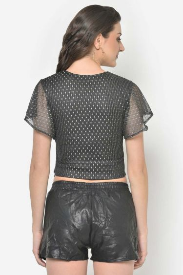Silver Dobby Mesh Front Knot Crop Top