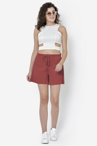 Rust Criss-Cross Lace Up Shorts