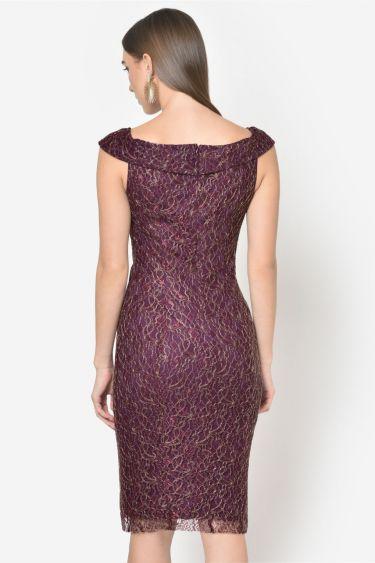 Wine Lace Off Shoulder Bodycon Dress