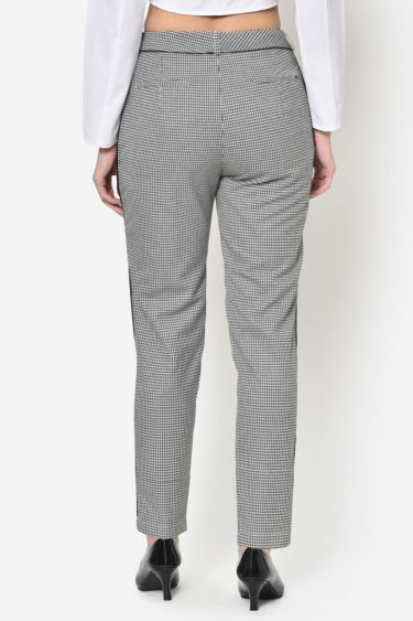 Houndstooth Black Piping Formal Trouser