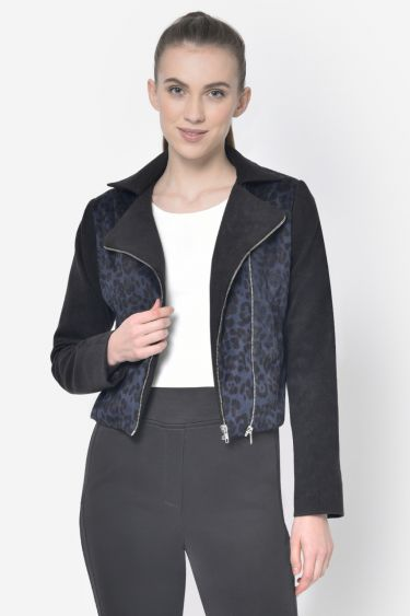 Black Blue Tiger Print Woolen Biker Jacket