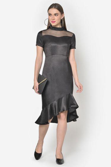 Black Satin High Low Ruffle Hem Dress