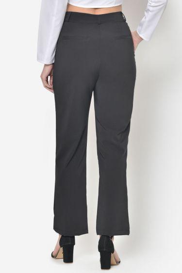 Black High Waist Bootcut Trouser