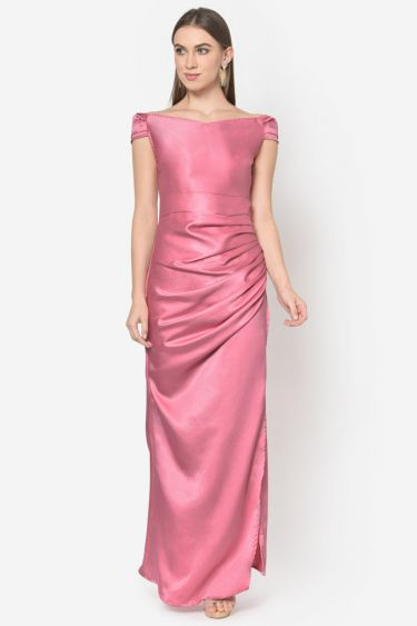 Pink Satin Off Shoulder Draped Gown