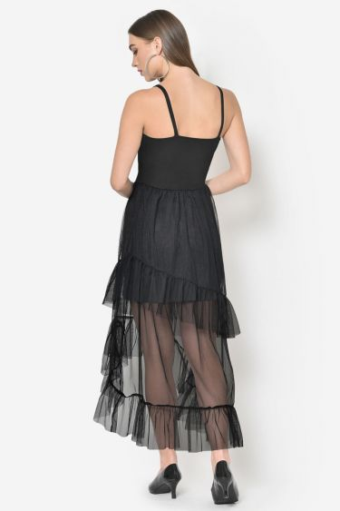 Black Mesh Frilled Hem High Low Dress