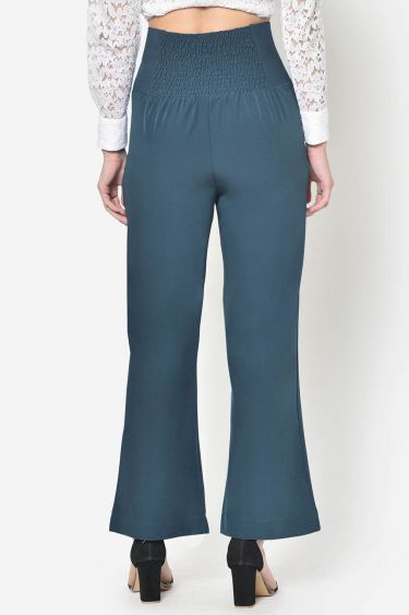 Turquoise Blue High Waist Eyelet Lace Up Trouser