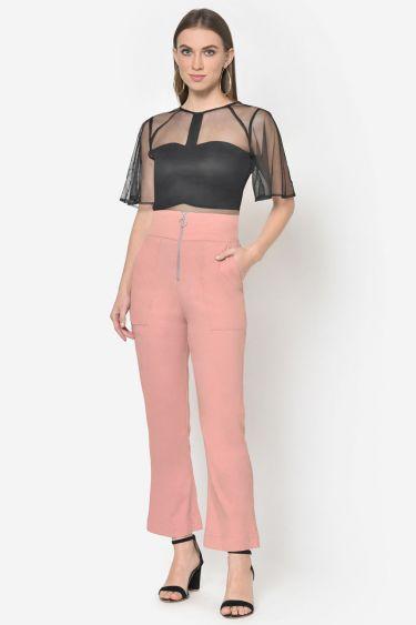 Peach High Waist Front Zip Bootcut Trouser