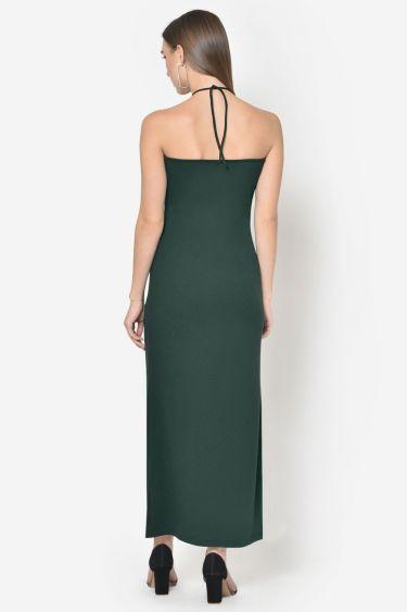 Turquoise Green Front Slit Halter Neck Dress