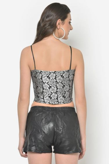 Silver Lace Crop Top