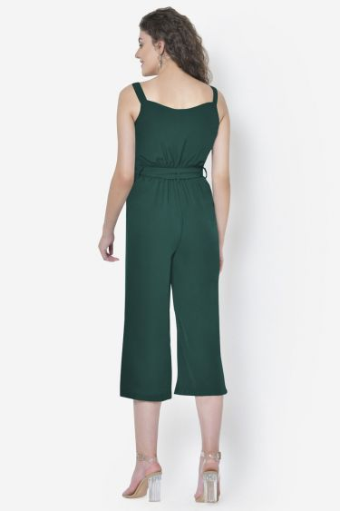 Green Front Buttoned Strappy Jumpsuit
