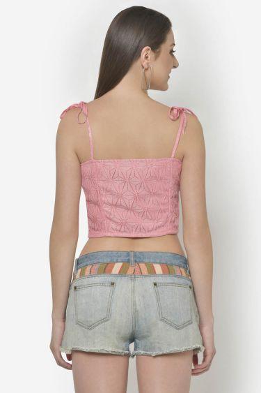 Pink Lace Tie-Up Shoulder Straps Crop Top