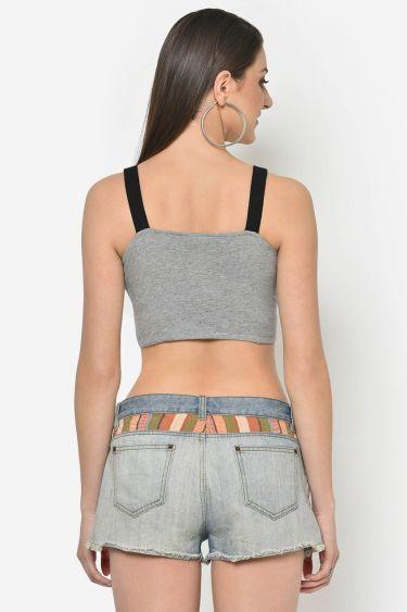 Grey Contrast Strap Crop Top