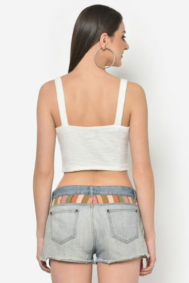 Off White Front Buttoned Crop Top