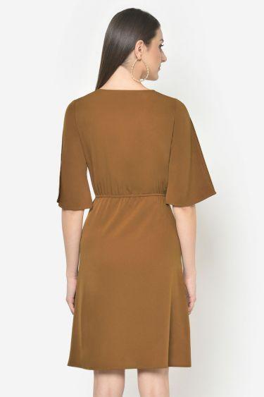 Light Brown Front Tie Up Dress