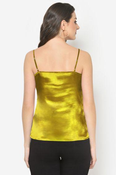 Yellow Satin Cowl Neck Top