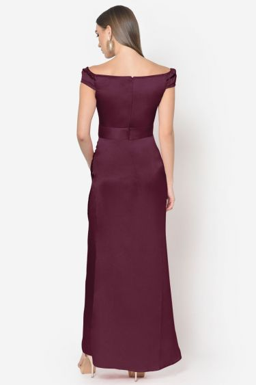 Wine Satin Off Shoulder Draped Gown